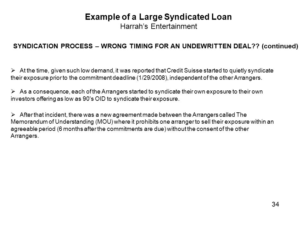 Looking at the bank loan syndication process ppt video online example of a large syndicated loan platinumwayz