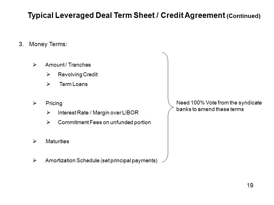 Looking at the bank loan syndication process ppt video online typical leveraged deal term sheet credit agreement continued platinumwayz