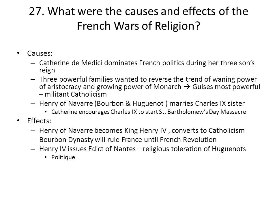 causes and consequences of the french The causes and consequences of the french revolution reflect the convulsive society of the time among the main causes is economic instability, and one of the most important consequences was the recognition of human rights.