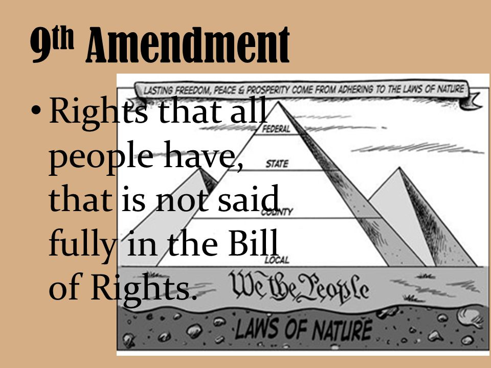 9th Amendment Rights that all people have, that is not said fully in the Bill of Rights.