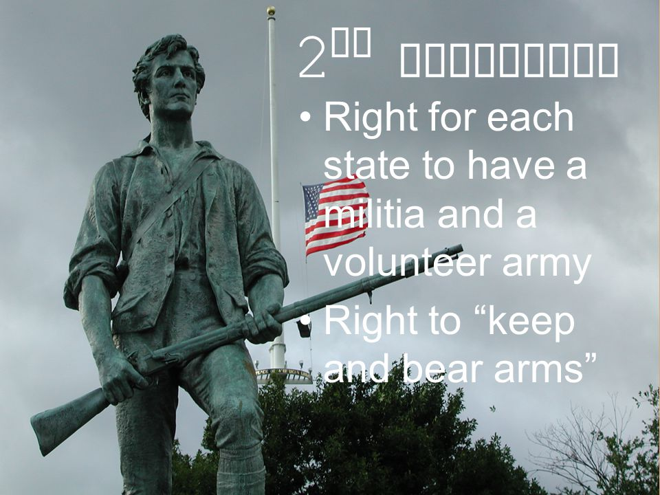 2nd Amendment Right for each state to have a militia and a volunteer army.