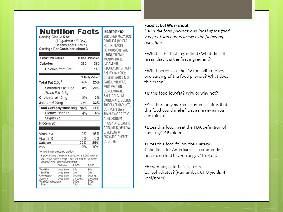 Making Healthy Food Choices ppt video online download – Food Label Worksheet