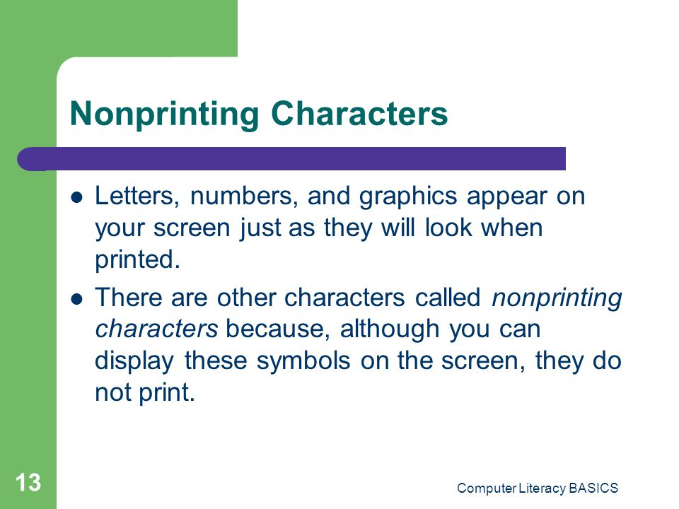 Nonprinting Characters