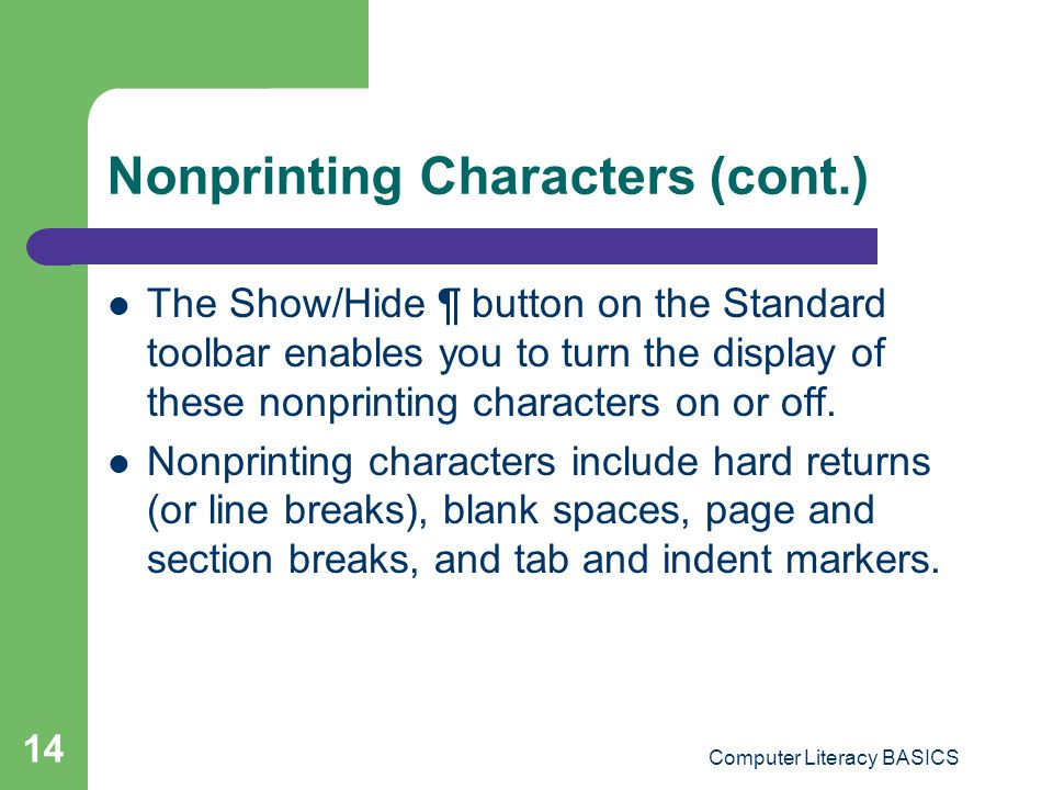 Nonprinting Characters (cont.)