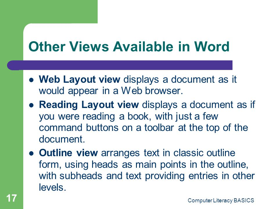 Other Views Available in Word