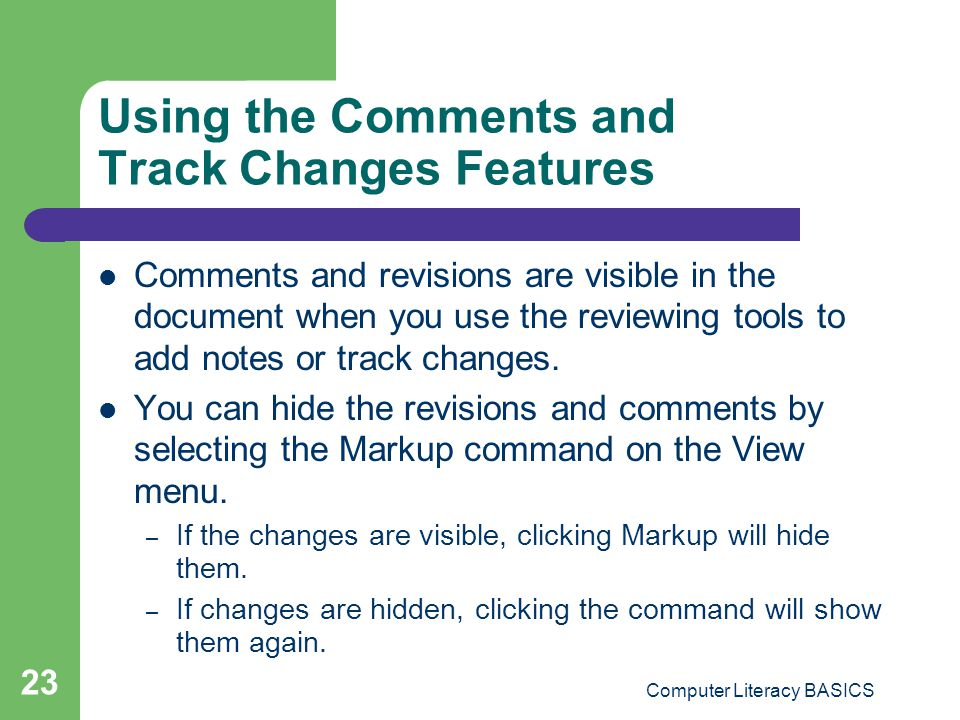 Using the Comments and Track Changes Features
