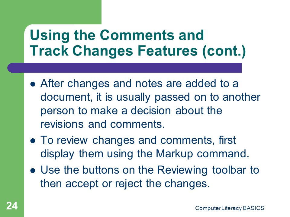 Using the Comments and Track Changes Features (cont.)