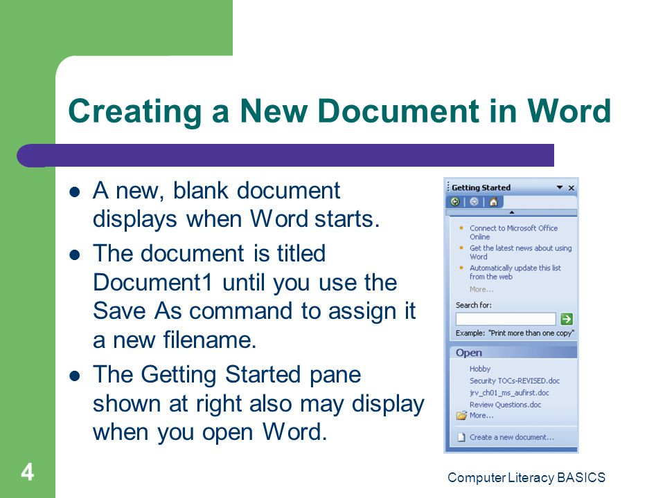 Creating a New Document in Word
