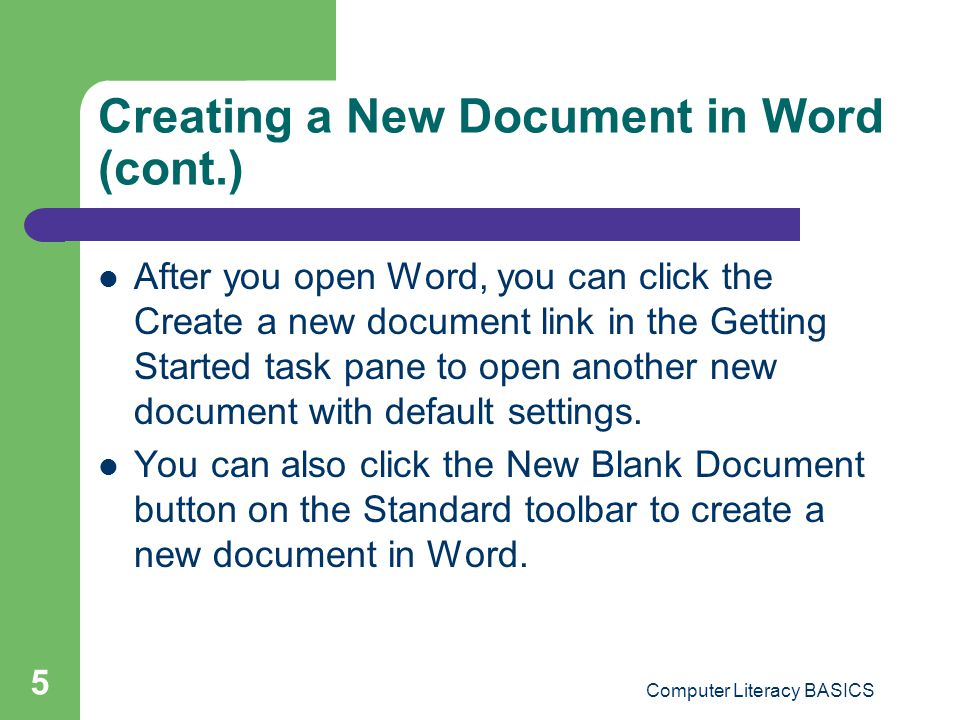 Creating a New Document in Word (cont.)