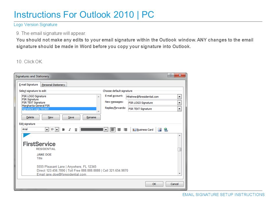 how to set up auto signature in outlook 2010