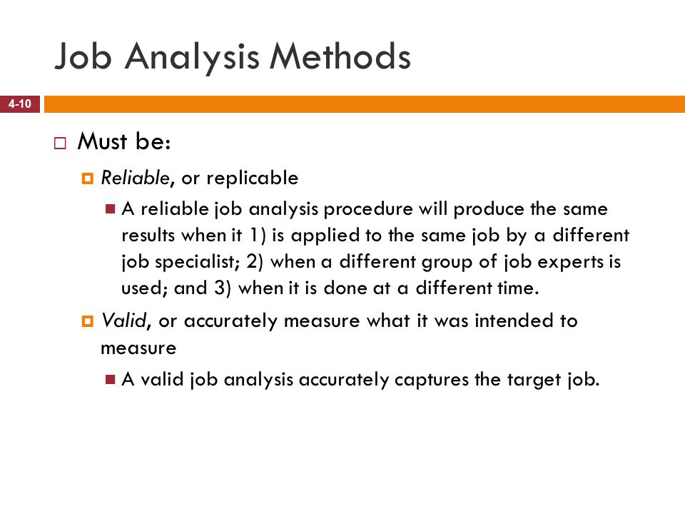 results from the job analysis method essay Job analysis paper choose a job you would be interested in pursuing to prepare for this assignment • conduct a job analysis for your selected job using one of the job analysis methods and discuss how it could be used within an organization.