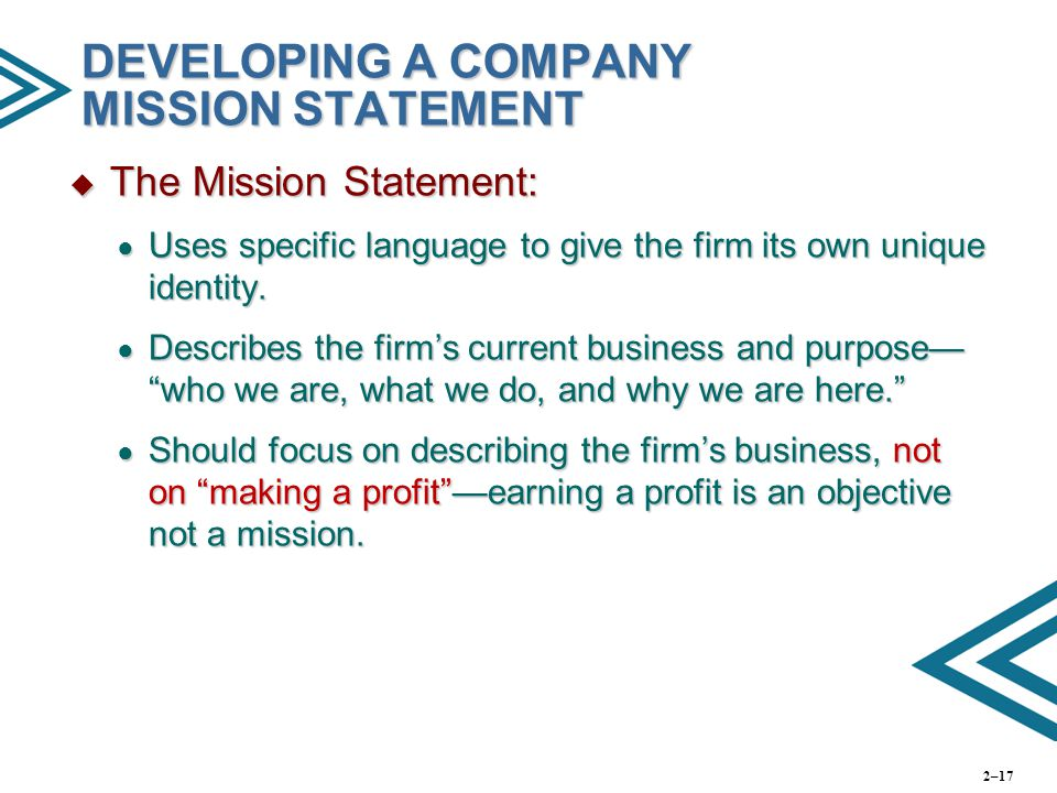 Developing a Mission Statement