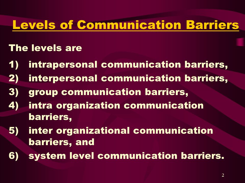 barriers of interpersonal communication in organization Communication (from latin commūnicāre, meaning to share) is the act of conveying intended meanings from one entity or group to another through the use of mutually.