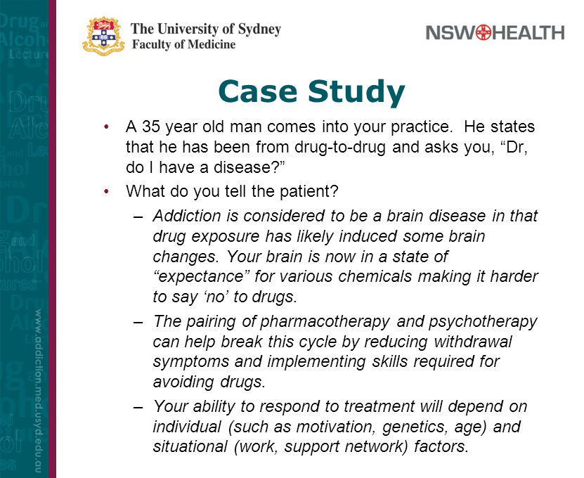 drug addiction case study Observations of the ongoing activities of a heroin addict were recorded in com- plete narrative style on 15 separate occasions spanning a period of 3 weeks in an effort to describe and identify key stimuli in the daily repertoire or environ- mental milieu of the addict-client predictably related to drug or other antisocial activities.