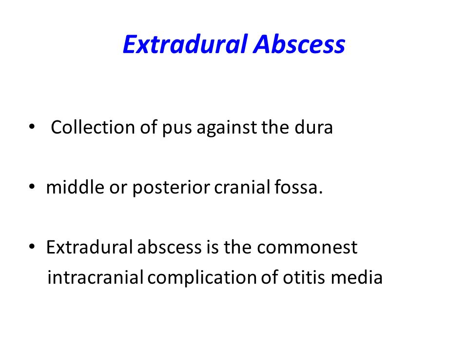 Extradural Abscess Collection of pus against the dura
