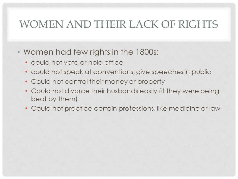 Women and Their Lack of Rights