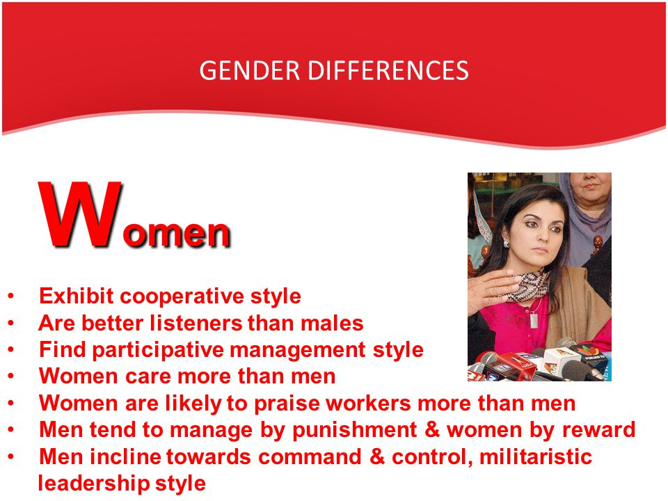 gender based difference in managerial styles Gender differences in leadership 549 trends there are increasing similarities in the management styles of men and or is it based on subjective interpretations.