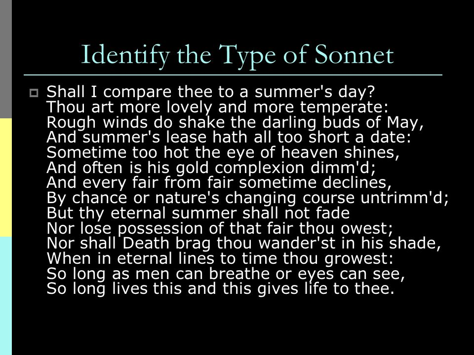 Identify the Type of Sonnet
