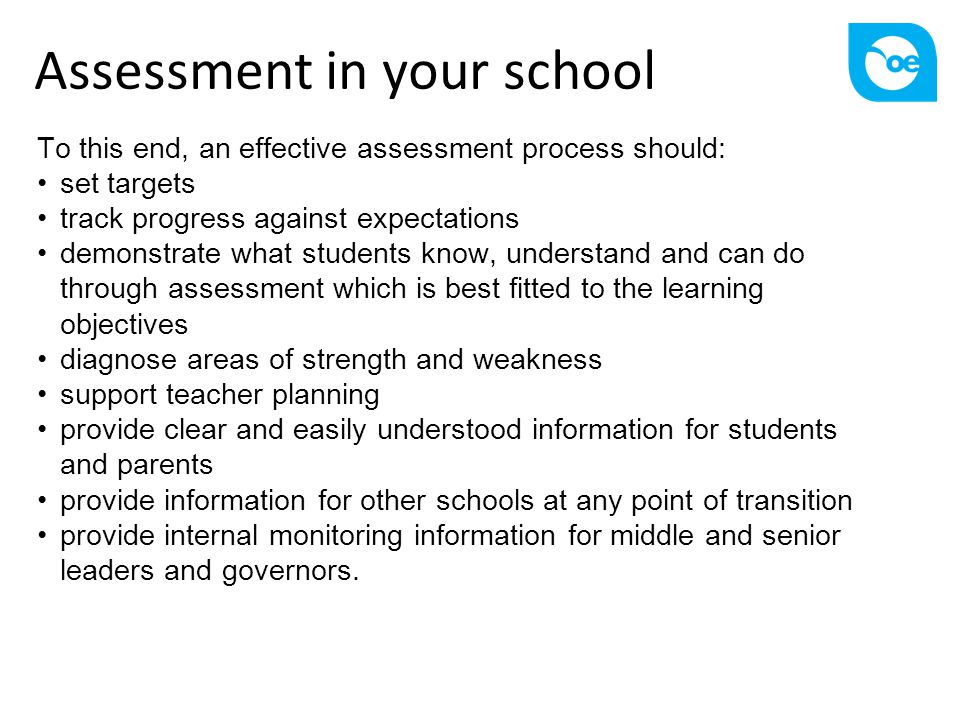 Assessment in your school