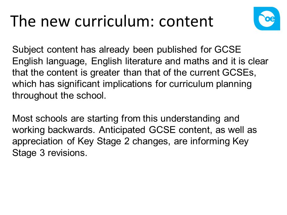 The new curriculum: content