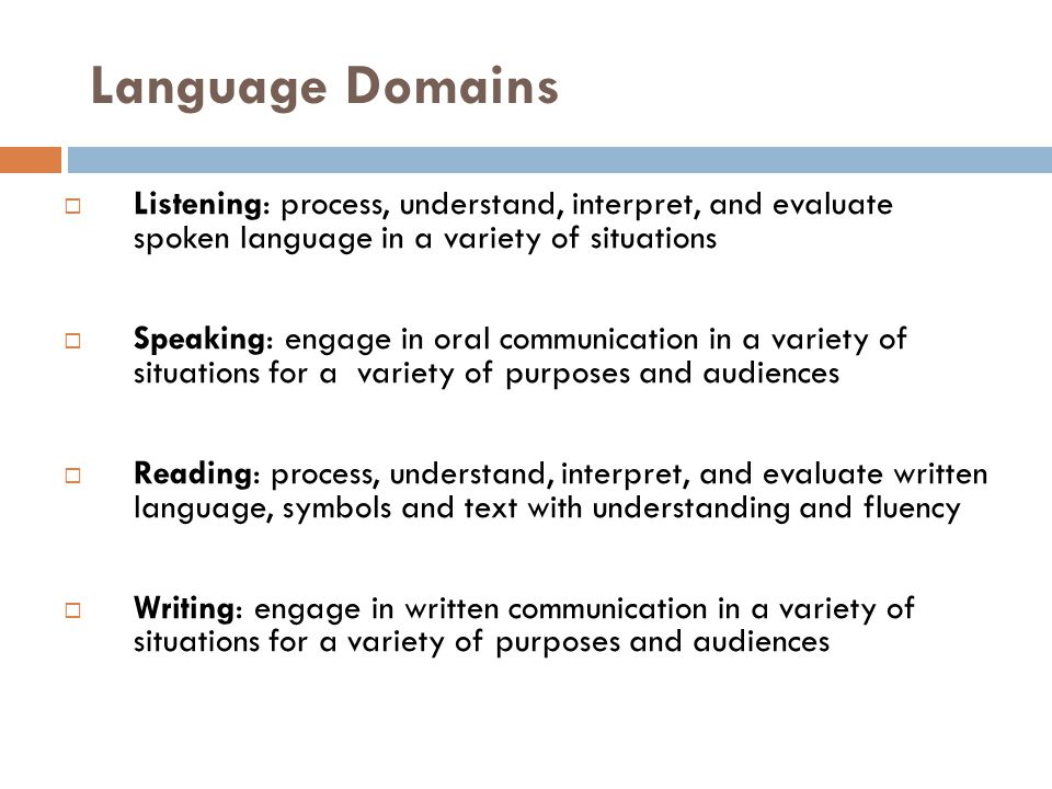 the linguistic domains are listening speaking reading writing and thinking