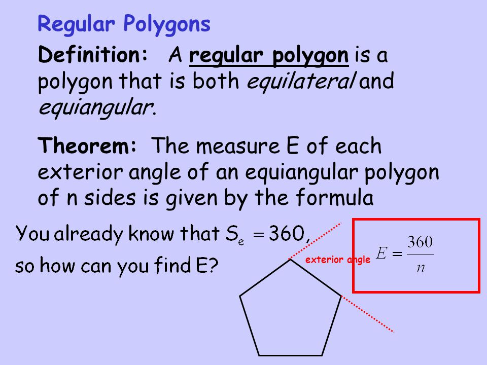 Section 3 4 polygon angle sumtheorems ppt video online - Define exterior angle of a polygon ...