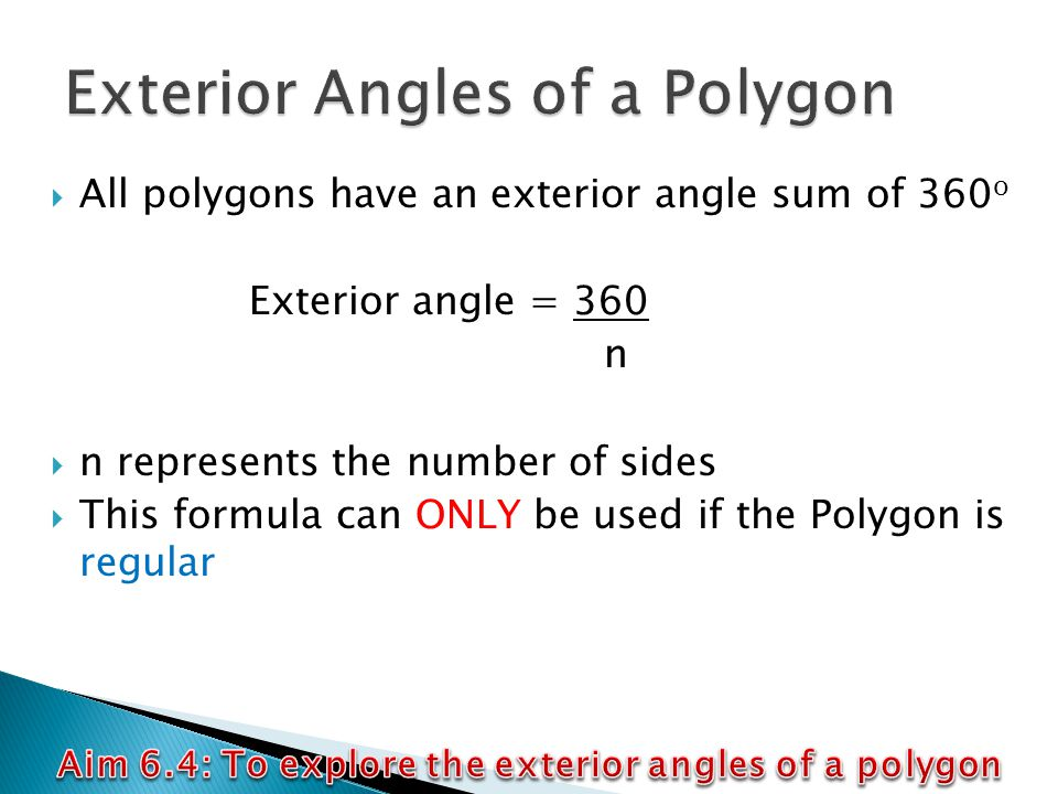 Aim 6 4 to explore the exterior angles of a polygon ppt video online download for Exterior angles of a polygon formula