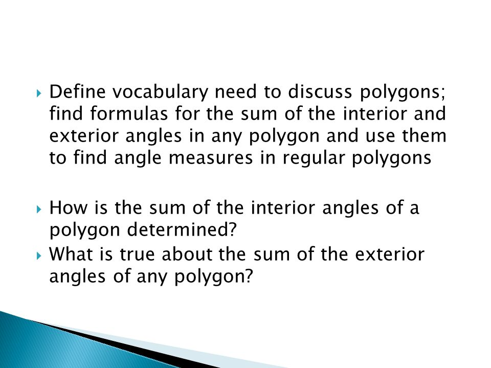 Total interior angles of a polygon formula