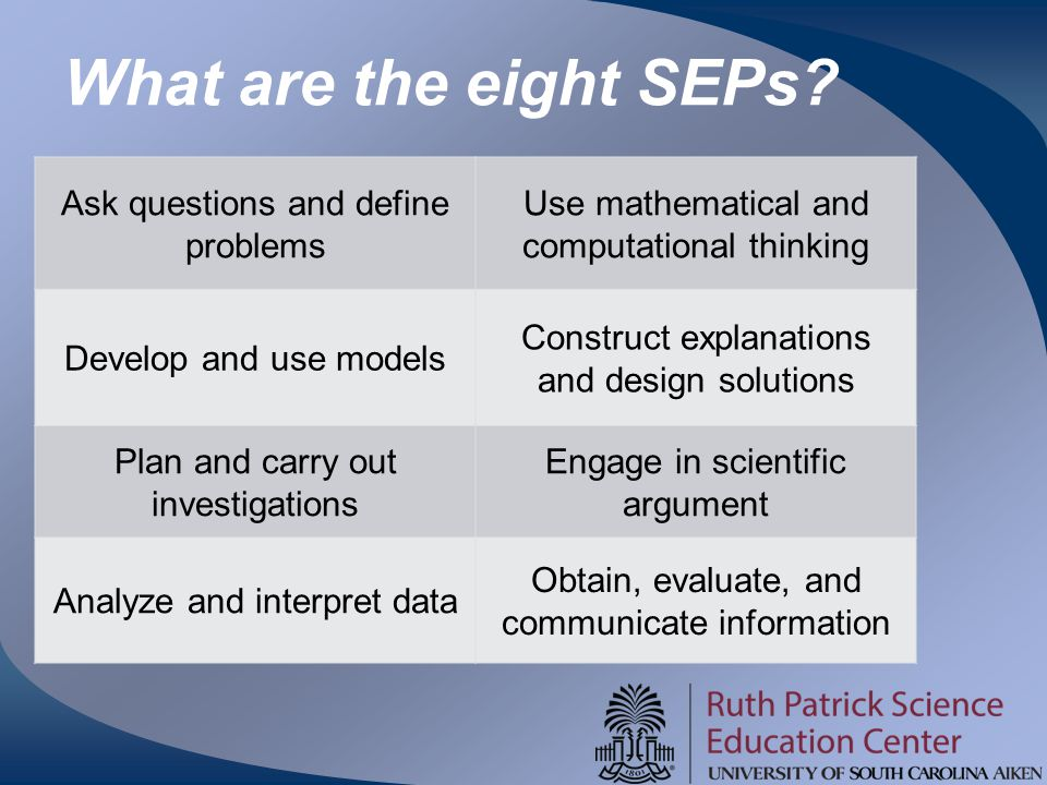 What are the eight SEPs Ask questions and define problems