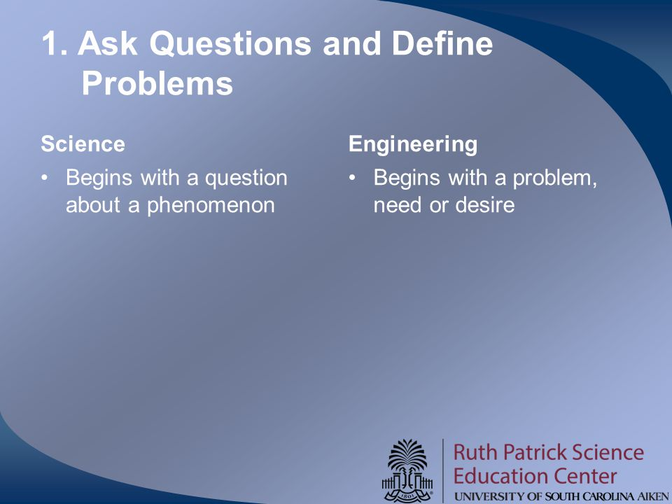 1. Ask Questions and Define Problems