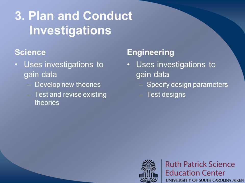 3. Plan and Conduct Investigations