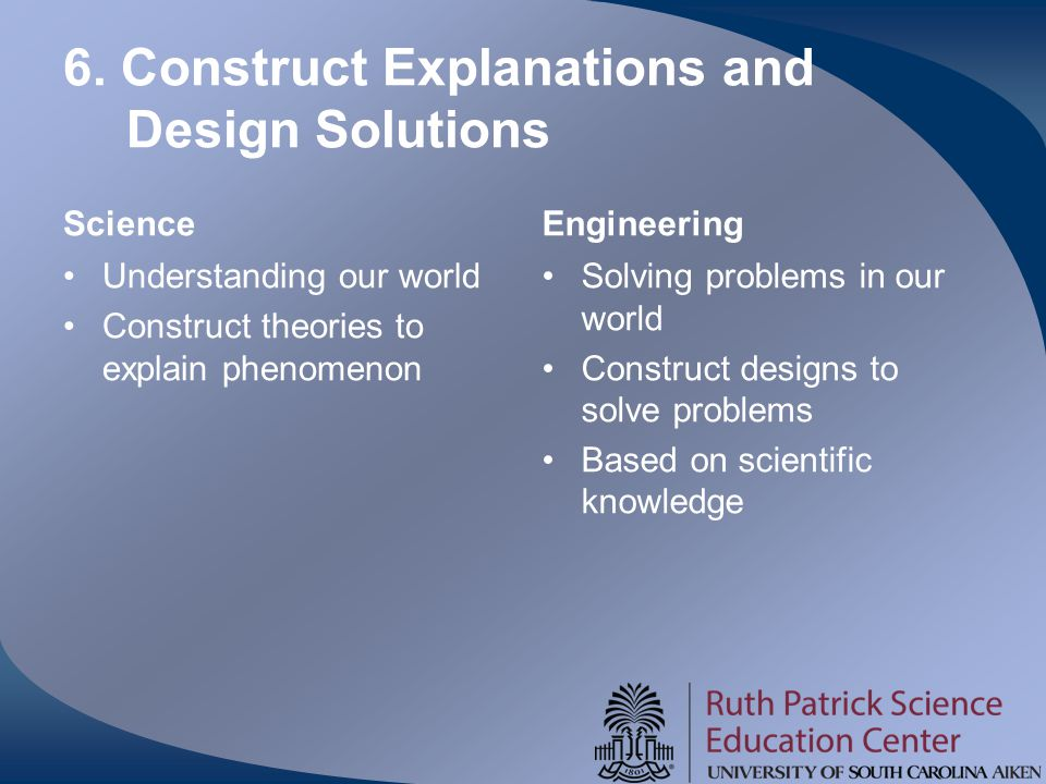 6. Construct Explanations and Design Solutions