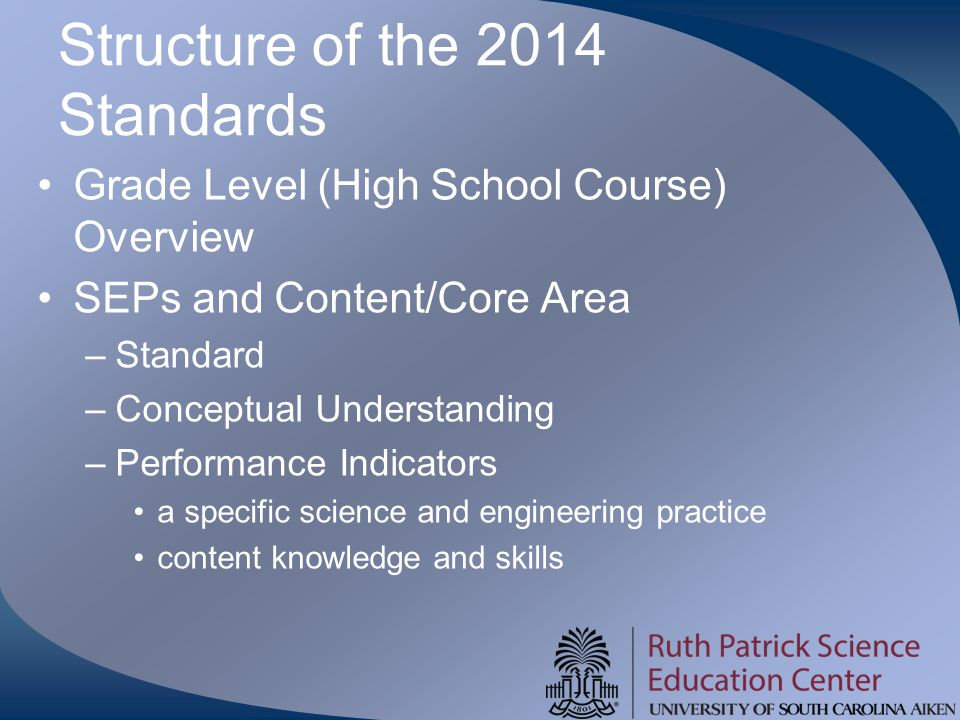 Structure of the 2014 Standards