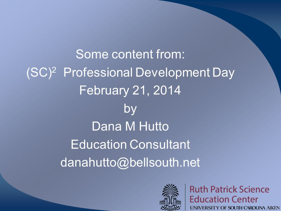Some content from: (SC)2 Professional Development Day February 21, 2014 by Dana M Hutto Education Consultant