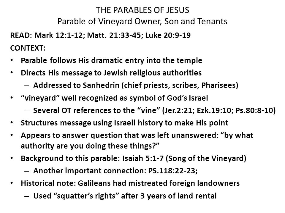 an analysis of isaiahs message in the parable of the vineyard A medieval mirror  textual analysis, the art of the miniatures and woodcuts, the iconography,  the parable of the ten talents c.