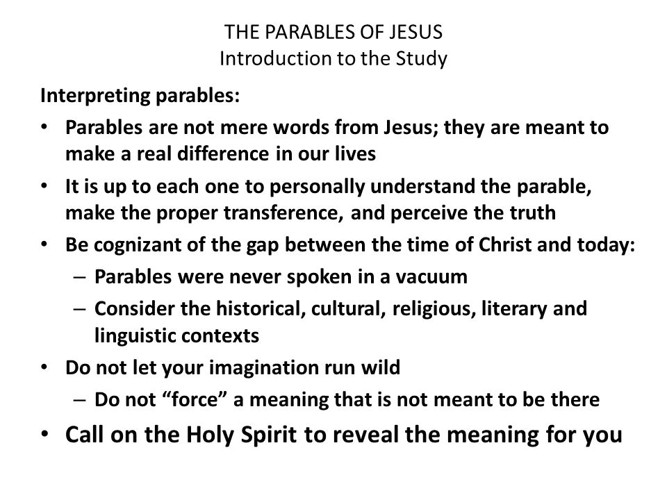 an analysis of parables Introduction the parables of jesus are among the greatest and most picturesque lessons in all his ministry one must remember that the intent of the parables is always just beneath the surface of the story and not be.