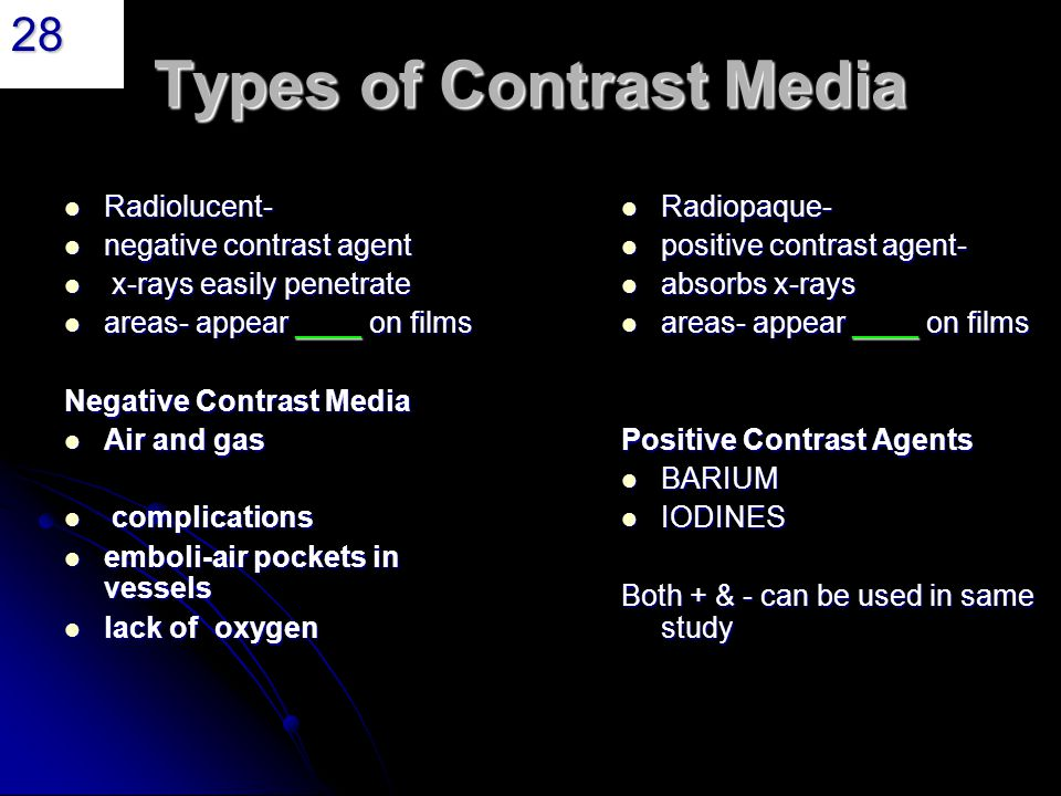 Radiographic contrast media ppt download Types of contrast