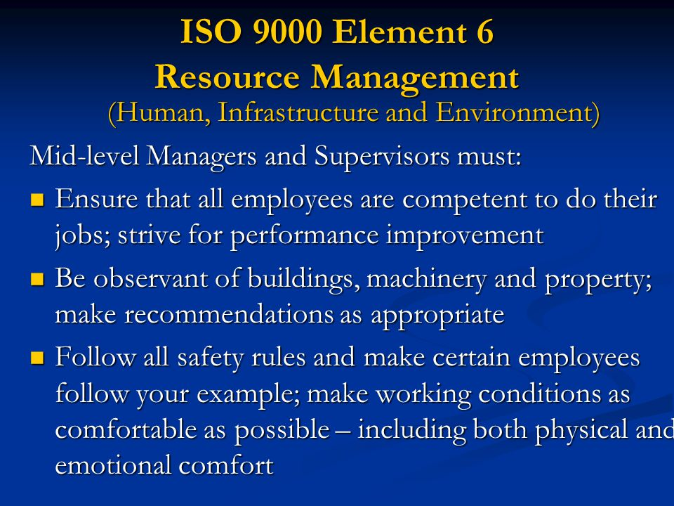 ISO 9000 Element 6 Resource Management