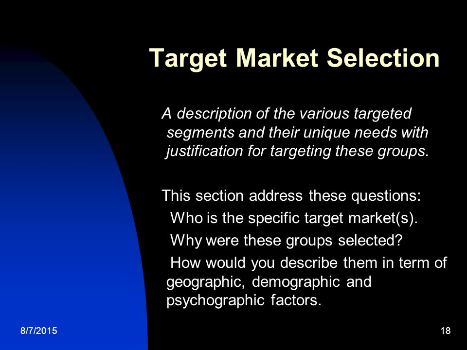 how to write a target market description