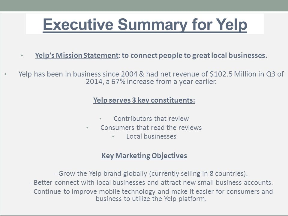what goes into an executive summary