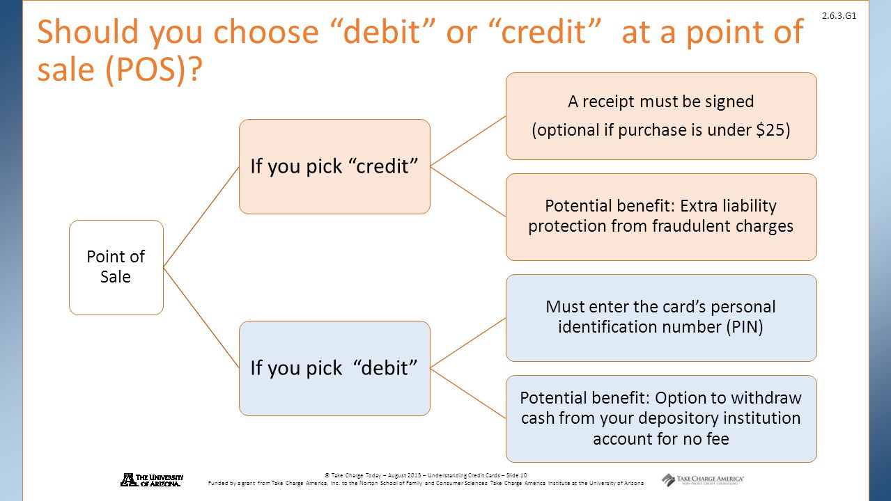 Should you choose debit or credit at a point of sale (POS)