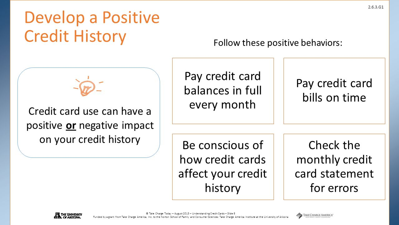 Develop a Positive Credit History