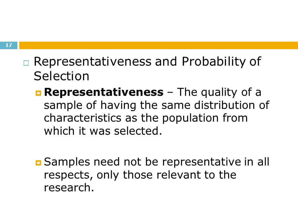 Representativeness and Probability of Selection