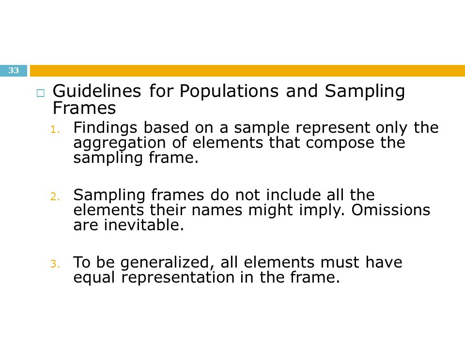 Guidelines for Populations and Sampling Frames