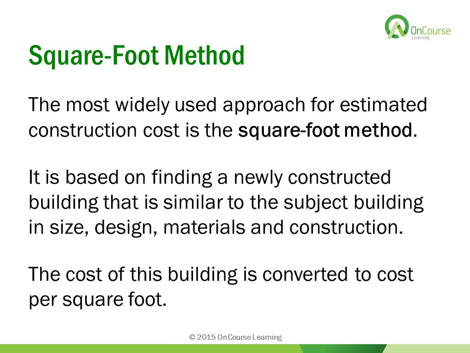 Chapter ppt video online download for Estimating building costs per square foot