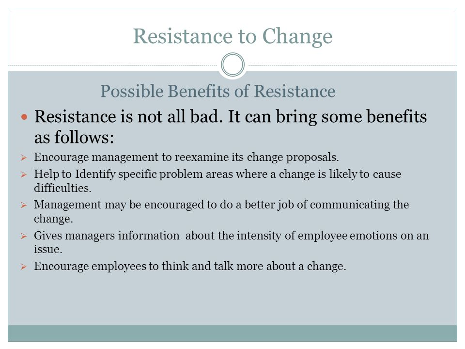 resistance to change can be successfully The effectiveness of change management can have a strong positive or negative impact on employee morale change models factors of successful change management counter resistance from the employees of companies and align them to overall strategic direction of the organization.