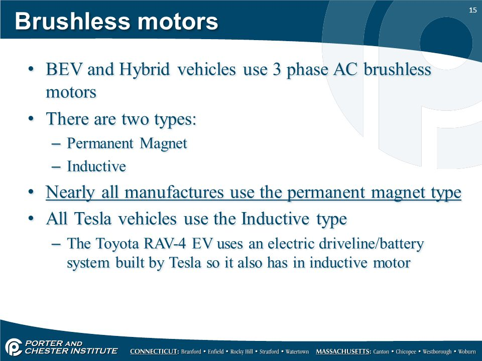 Brushless motors BEV and Hybrid vehicles use 3 phase AC brushless motors. There are two types: Permanent Magnet.