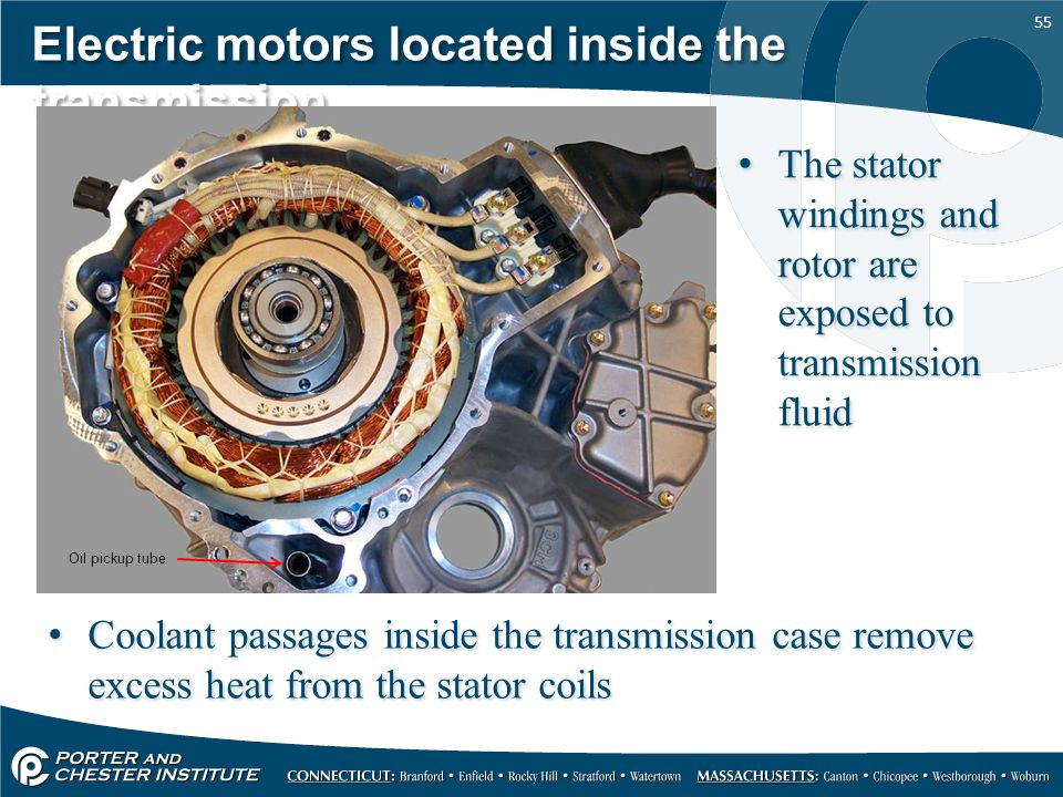 Electric motors located inside the transmission