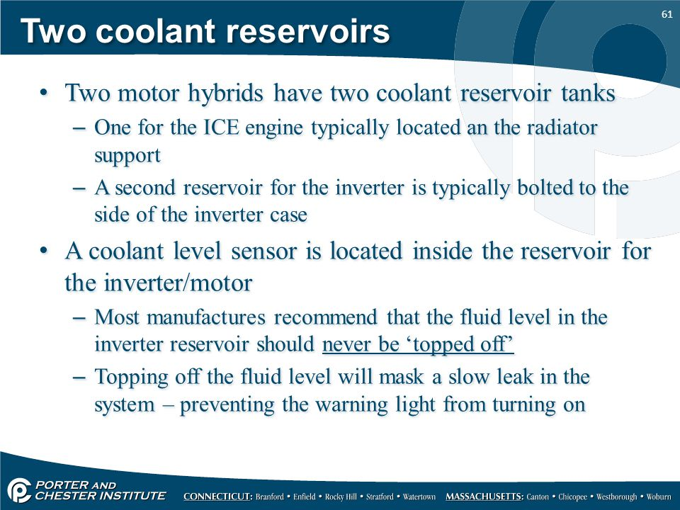 Two coolant reservoirs