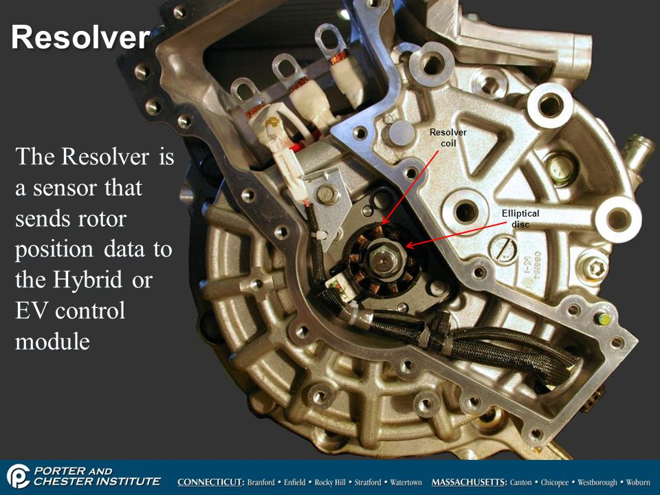 Resolver Resolver coil. The Resolver is a sensor that sends rotor position data to the Hybrid or EV control module.